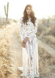 Büyüleyici Beyaz Uzun Gelinlik Modelleri Yüksek See Through Uzun Kollu Düz Kat Uzunluk Stil Ve Dantel Malzeme Ile Düğün Akşam
