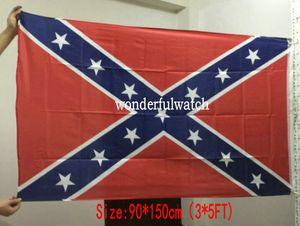 Banderas Bandera 30pcs dos caras impresas rebelde del confederado de la bandera nacional de poliéster Guerra Civil indicador de la venta 90 * 150 cm 3 * 5FT directo de fábrica