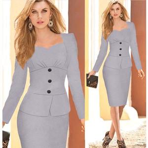 Autunno stile europeo vendita calda abiti casual vintage maniche lunghe fibbia falsi due pezzi abiti a matita a cuore abiti da lavoro ol