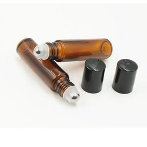 300 adet / grup Amber Cam Şişeler üzerinde 10 ml Boş Rulo [PASLANMAZ ÇELIK RULO] Doldurulabilir Amber Aromaterapi için Rulo, koku Essentia