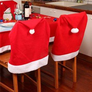 2016 Nouvelle année de Santa Red Hat CHAISE Housses de Chaises Dîner de Noël Décorations de Noël Cap Ensembles décoration Navidad