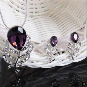 Set di gioielli nuovi di zecca di moda 18k placcato argento collana di cristallo austriaco orecchini classici abiti da sposa per le donne