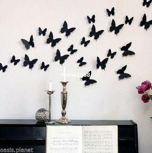 12 adet 3D Kelebek Duvar Çıkartmaları Kelebekler Docors Sanat DIY Süslemeleri Kağıt
