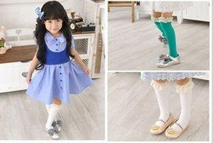 Lindo algodón puro encaje bowknot niños niñas calcetines princesa mariposa rodilla-high-high socks kids dance calcetines bebé princesa medias 5color l1436