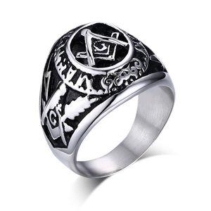 Büyüleyici Popüler erkek Klasik Döküm Biker GümüşSiyah Paslanmaz Çelik Masonik semboller Yüzük Yüksek Kalite Takı NOEL Hediyeleri