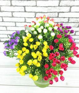 Las flores artificiales del adorno del hogar toman 6 bifurcaciones cabeza milán 36 brácteas producen rosas al por mayor y mini QQ envío libre SF09