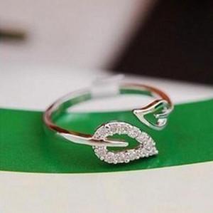 Bling Cristal Folha Anéis festa de jóias ajustável prata banhado strass Anel por Mulheres presente Xmas Meninas