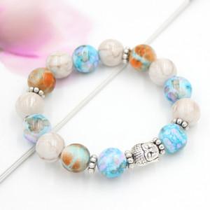 Livraison gratuite Bijoux main Perle Bracelet 12mm Perles Bracelet extensible avec Antique plaqué argent Bouddha tête Bracelets Bangle