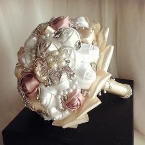 Zarif Lüks Düğün Çiçekleri Kristaller İnciler Rhinestones Boncuk Köpüklü Gelin Buketi Saten Çiçekler Bahçe Kilisesi Plaj Düğün