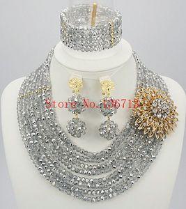 design de moda Hot vendas de casamento nigeriano grânulos de africanos jóias conjunto de cristal para mulheres casamento e SD801-1 partido