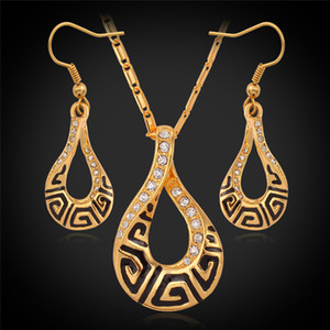 Joyas de cristal Luxury G vintage Necklace Pendientes colgantes Real 18K Chapado en oro Fashion Jewelry Set Austria Crystal Jewelery YS692