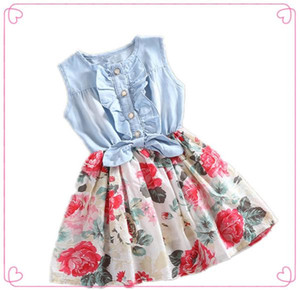 Kids Girl Summer Dress Sleeveless Bowknot Denim Shirt Stitching Floral Print A Line Skirt Fashion Children Vest Dress