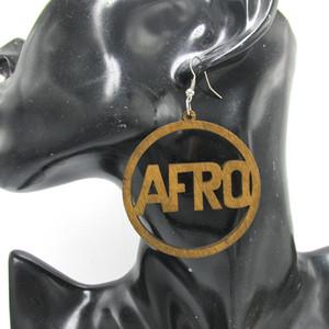 Wholesale- Spedizione gratuita! Gli orecchini di legno rotondo di Afro / 6cm di 6pairs / lot possono mescolare 2 colori