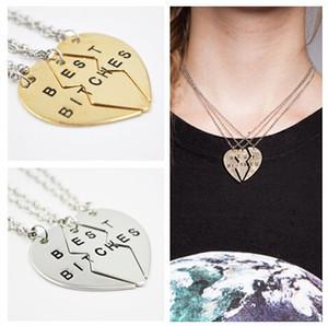 Prezzo di fabbrica ! 5 set / lotto (oro, argento) Broken Heart Best Bitches 3 Parts Pendant Necklace Miglior regalo per gli amici