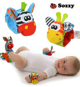 2015 nuovo arrivo sozzy polso sonaglio piede finder giocattolo del bambino piede calzino infantile 20 pz (10wrist rattles + 10foot socks) lovely baby baby regalo