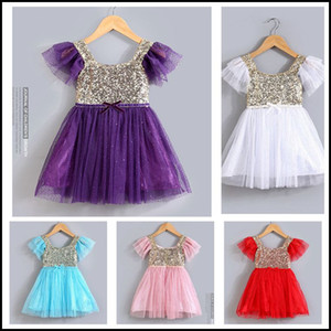 2015 girls sequins princess dresses kids girl flying sleeve tutu dress 5 colors children lace party dress bowknot J070208# DHL