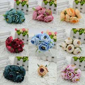 Wholesale- 6pcs/lot Simulation bud silk flower bouquet headdress brooch DIY wreath materials bride holding flowers decorative flowers