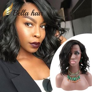 Bob Tarzı Saç Peruk Kısa Kesim Dalgalı Doğal Siyah Dantel Peruk İnsan Saç Siyah Kadınlar için Tam Dantel Peruk Ön Dantel Peruk Bellahair