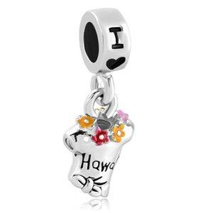 Rhodiumüberzug Multicolor Sommer T-Shirt Ich liebe Hawaii baumeln Charme Bead passen Pandora Chamilia Biagi Armband