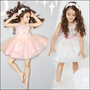 Vestidos de casamento das crianças hight qualidade meninas princesa partido floral lace dress rosa tutu tamanho do vestido: 100-140 navio livre MOQ: 30pcs SVS0435 #