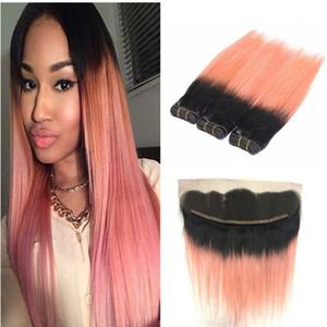 Dark Root Ombre Rose Gold Two Tone paquetes de trama de cabello humano con Frontals completo Pink Ombre Hair teje con 13 * 4 Lace Frontal Closure