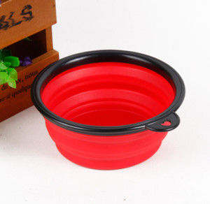 Wholesale-6pcs lot Dog Cat Silicone folding portable Dog Feeding Water Feeder Bowl Pet Supplies Travel Dish Folding Dog Bowl