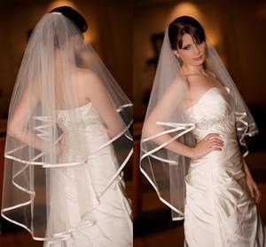 Heißer verkauf auf lager zwei schichten weiße elfenbein hochzeit brautschleier mit funkelnden band rand tüll romantische schleier hochzeit zubehör braut