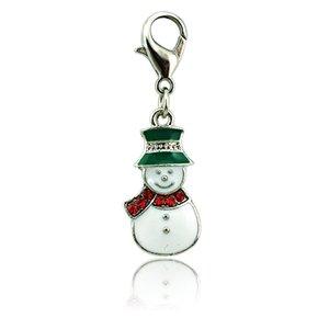 New Fashion Charms galleggianti di Natale Aragosta chiusura Red Rhinestone Sciarpa Pupazzo di neve Charms Gioielli fai da te Accessori
