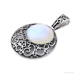 Halbedelstein Opal Opalite Anhänger 40MM versilbert Legierung 20MM Cabochon Kristall Frauen Halskette Schmuck 60cm Kette