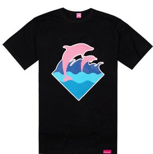 Spedizione gratuita rosa delfino T-shirt P lettera logo uomini di skateboard streetwear hip hop ragazzo maschio t-shirt manica corta o collo mens tees top