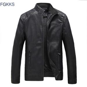 Al por mayor-FGKKS nuevos hombres de cuero genuino Chaquetas de cuero genuino de los hombres de cuero de la marca de fábrica masculina bombardero Motocicleta Biker Coats