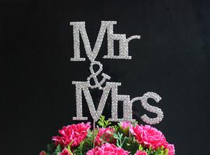 بلينغ الأولي كبير الماس حجر الراين كريستال رسالة mrsrs كعكة توبر ل حفل زفاف الديكور 1 قطع