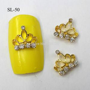Atacado-10pcs 3D Gold Crown Charme Decorações Glitter liga de metal jóias de strass para Nail Art Studs ferramentas SL-50