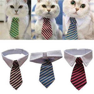 Dog Grooming Cat Striped Bow Tie Animal Striped Bowtie Collar Pet Adjustable Necktie White Collar Dog Necktie For Party Wedding
