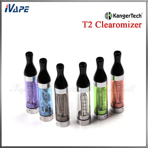 100% Original Kanger T2 Clearomzier 2.4ml KangerTech T2 Atomzier T2 Plastic Colorful Atomizer With Long Wick Changeale T2 Coil Head