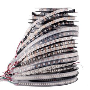 DC5V ws2812b direccionable individualmente tira de LED de luz blanca / negro de PCB 30/60/144 píxeles, inteligente RGB 2812 cinta de la cinta llevada impermeable IP67 / IP20