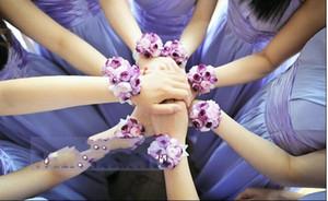 Romântico Colurful Casamento Da Dama De Honra De Pulso Corsages Acessórios Do Casamento Do Ramalhete Elegante Fontes Do Partido Flor De Noiva Cocar De Pulso Barato