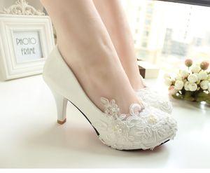 Chaussures De Mariée En Dentelle À La Main Chaussures De Mariée Blanches Chaussures De Demoiselle D'honneur Banquet Robe Chaussures Pompes 8.5cm Grande Taille