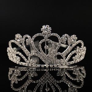 Günstige Silberkristalle Hochzeit Diademe Perlen Brautkronen Strass Kopfschmuck Günstige Kamm Haarschmuck Festzug Tiara