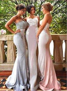 2018 Querida Sereia Longo Da Dama de honra Vestidos de Cetim Rendas Apliques Até O Chão Evening Prom Wedding Guest Party Dresses