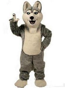 2018 Venta caliente Husky Dog Mascot Costume Personaje de Dibujos Animados Adultos Mascota Mascotte Traje de Traje de Fiesta de Disfraces de Carnaval Disfraz