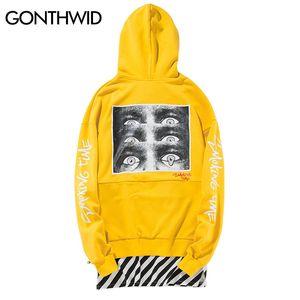Vente en gros- GOTHWID Side Zipper Stripe Patchwork Hoodies Hommes 2017 Imprimé Extended Sweatshirts Mâle Hip Hop À capuche Streetwear