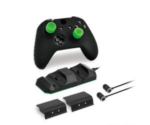 슈퍼 게임 키트 게임 세트 자료 2 개 배터리 한 헤드셋 1 개 실리콘 케이스 4 실리콘 썸 스틱 커버 XBOX ONE X / XBOX ONE S