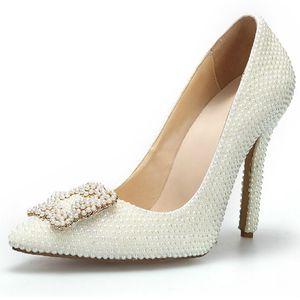 Mode Spitz Pearl Hochzeit Schuhe Elfenbein Farbe Brautkleid Schuhe Frauen Stiletto Heel Einzel Kleid Pumps Echtes Leder
