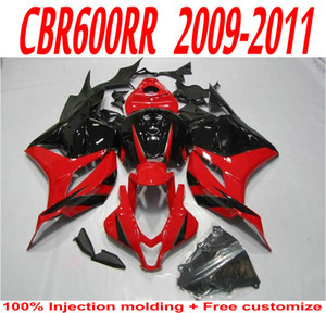 Honda Fairings için özel Parlak siyah kırmızı motosiklet vücut parçaları 2009 2010 2011 CBR 600 RR CBR600RR 09 10 11 kaporta kiti OCFQ