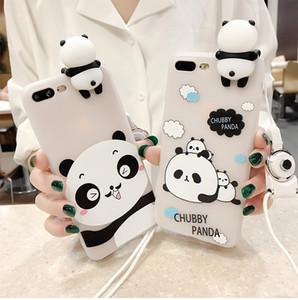 3D suave lindo panda caja del teléfono para iphone x case 8 7 6 s 6 plus encantadora cubierta de silicona de dibujos animados para iphone 6 6s 7 8 plus caja del teléfono