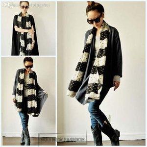 Wholesale-63 * 18 inç 2015 Yeni Moda Sonbahar Kış Dantel Şifon Ipek Eşarp Kadınlar için Beyaz Nokta Sıcak Wrap Şal Fabrika Fiyat scarf032