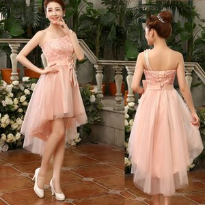 2019 New Fashion One Shoulder High Low Bridesmaid Dress With Bow Elegant Bridesmaid Gowns Short Front Long Back