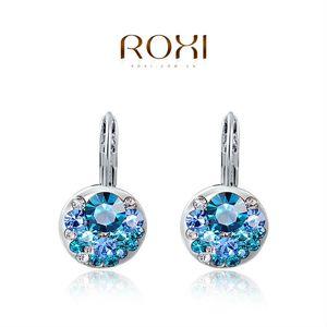 015 ROXI Alta Qualidade Azul Rodada Pedra Brincos Moda Jóias Melhor Presente Para A Mulher Para O Partido de Casamento de Presente de Natal Brincos de Prata