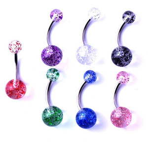 New Hot Wholesale chirstmas Flashing Acrylic bar belly button ring ball body Piercing jewelry Navel pierce